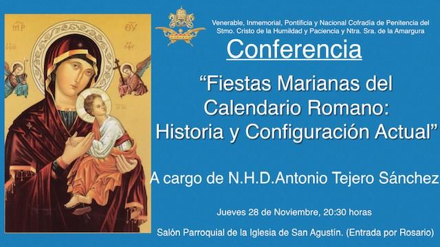 Conferencia «Fiestas Marianas del Calendario Romano: Historia y Configuración Actual»