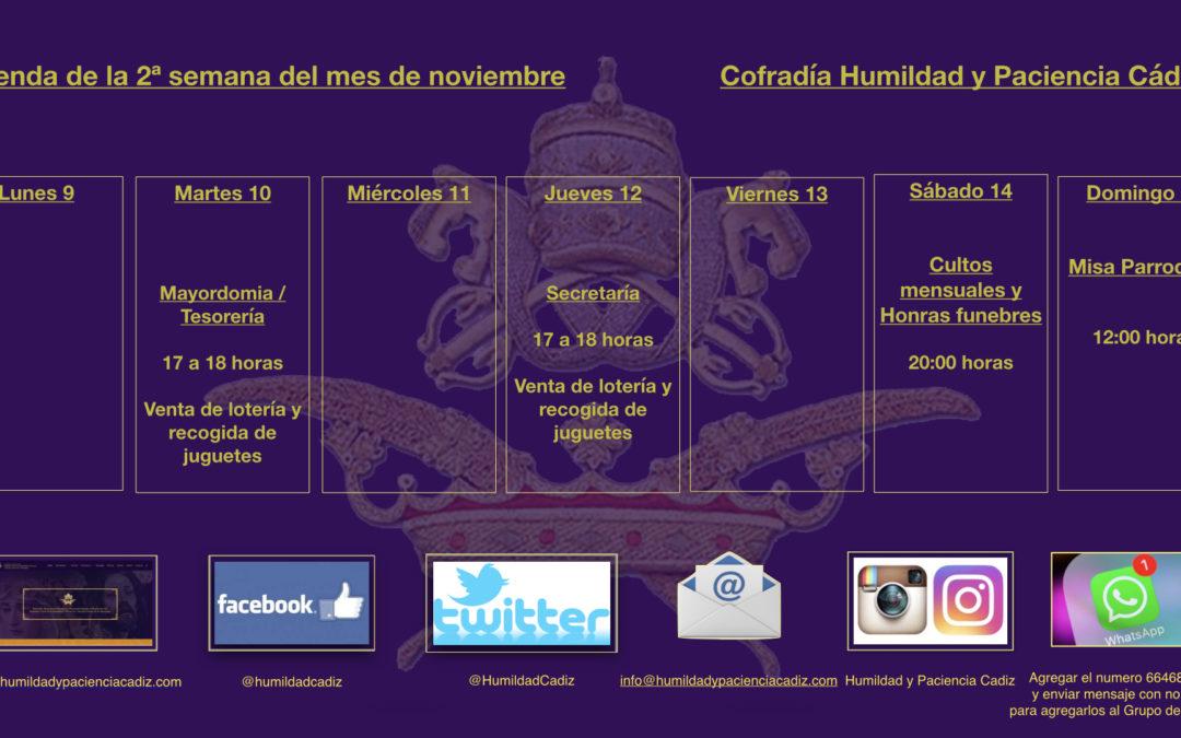 Agenda de la segunda semana de noviembre