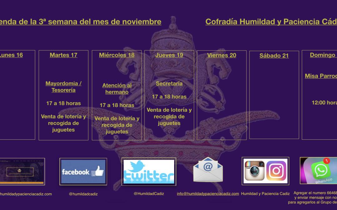 Agenda de la tercera semana de noviembre