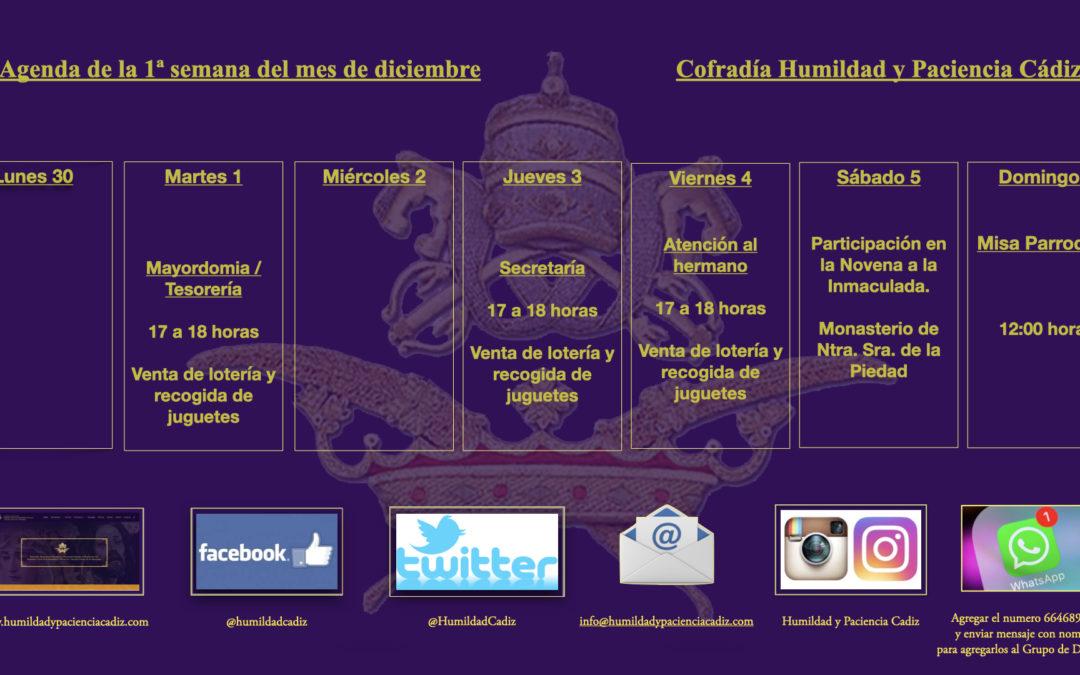 Agenda de la primera semana de diciembre